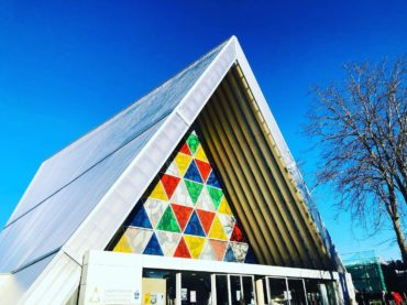 Cardboard cathedral outside
